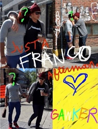"""18.set.2013 - Conhecido por fazer piadas nas redes sociais, o ator James Francos publicou uma foto em que aparece beijando um homem com o rosto coberto, em meio aos rumores de que seria gay. """"James Franco Apaixonado? #gay"""", escreveu o ator na legenda da imagem"""