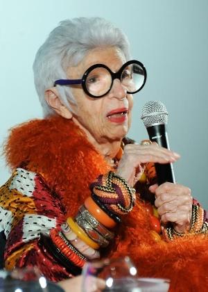 A decoradora Iris Apfel, 92, durante evento em São Paulo (18/09/2013) - Divulgação
