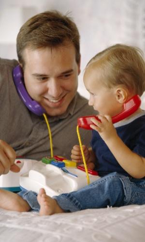 pai, filho, conversa, brincadeira