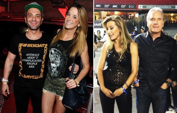 15.set.2013 - Ticiane Pinheiro com Mattheus Mazzafera e Roberto Justus com a namorada nova no show de Beyoncé