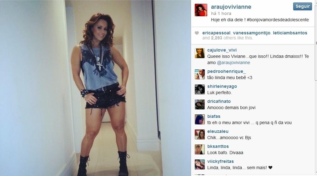 20.set.2013 - Fã de Bon Jovi, Viviane Araújo mostra visual que vai usar no Rock in Rio e conta que banda é