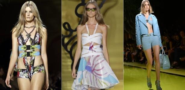 Modelos apresentam looks da Versace para o Verão 2014 durante a semana de moda de Milão (20/09/2013) - Reuters/Reuters/AFP