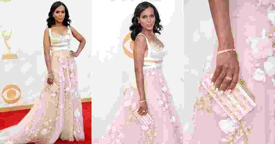 Famosa mais bem vestida do ano, Kerry Washington entrou na onda do rosa claro para o tapete vermelho do Emmy. Ela escolheu um longo Marchesa com bordados e detalhe floral - Getty Images