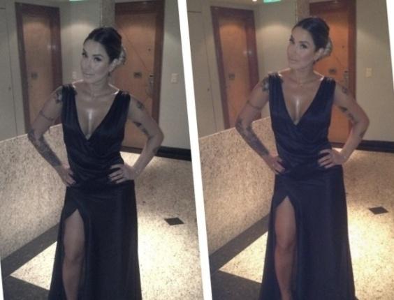 23.set.2013 - Dani Bolina veste preto com fenda para o casamento de Naldo e Mulher Moranguinho