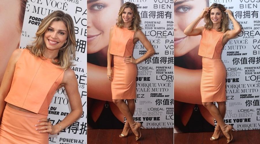 24.set.2013 - Grazi Massafera prestigiou o lançamento de produtos de beleza em São Paulo. A atriz é garota propaganda de uma marca de cosméticos
