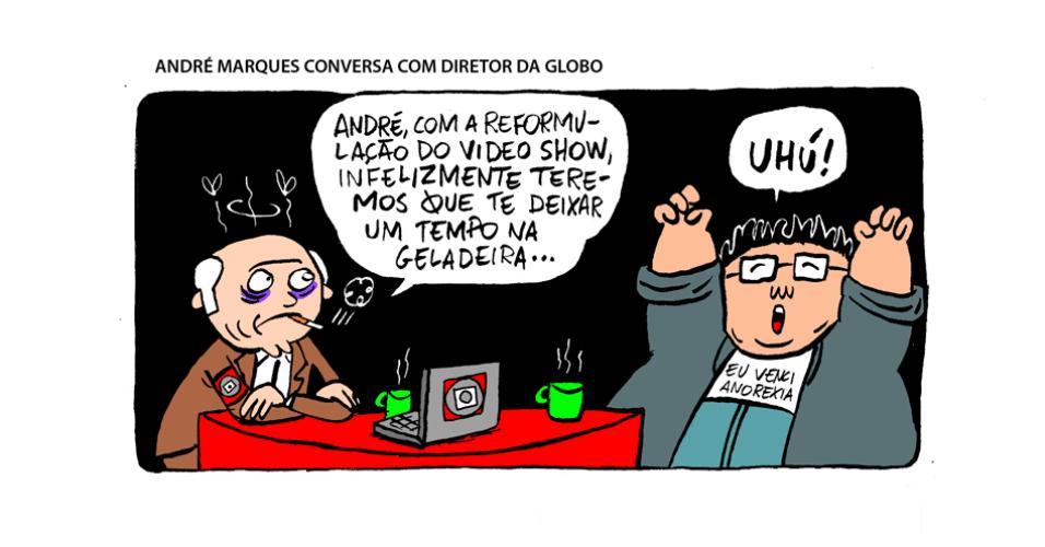 25.set.2013 - André Marques conversa com diretor da Globo