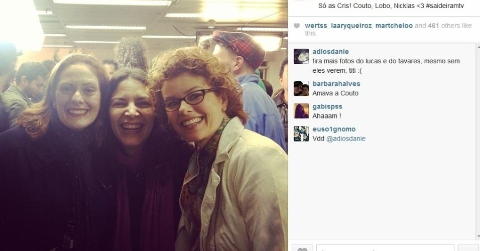 26.set.2013- Chris Couto, Cris Lobo e Chris Nicklas reunidas na última transmissão ao vivo da MTV Brasil