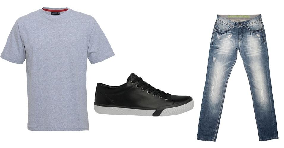 A combinação mais básica do guarda-roupa masculino é calça jeans, camiseta  e tênis edef2ceb3d