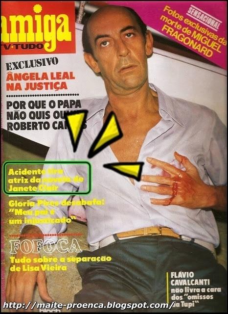 """Capa da revista """"Amiga"""" com foto do assassinato de Miguel Fragonard (Raul Cortez) em """"Água Viva"""""""