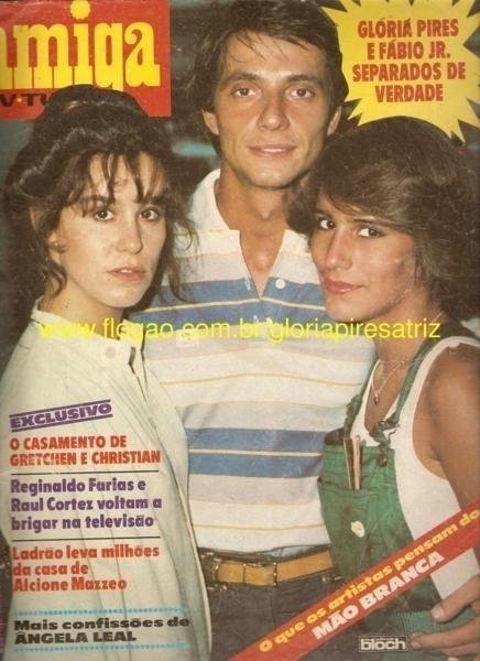 """Capa da revista """"Amiga"""" falando da separação de Fábio Jr. e Glória Pires com Lucélia Santos, que era par de Fábio na novela em """"Água Viva"""""""