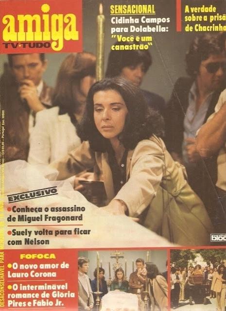 """Capa da revista """"Amiga"""" sobre o assassinato de Miguel Fragonard (Raul Cortez) em """"Água Viva"""""""