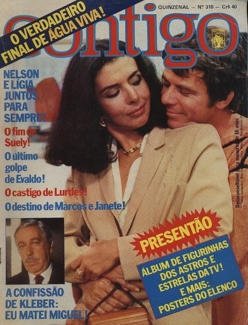 """Capa da revista """"Contigo"""" com Betty Faria e Reginaldo Faria sobre o final de """"Água Viva"""""""