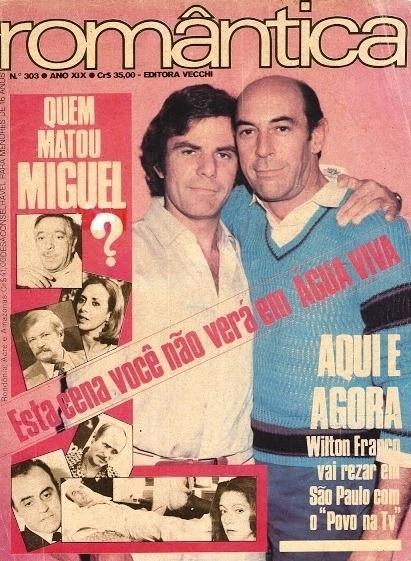 """Capa da revista """"Romântica"""" sobre o assassinato de Miguel Fragonard (Raul Cortez) em """"Água Viva"""""""