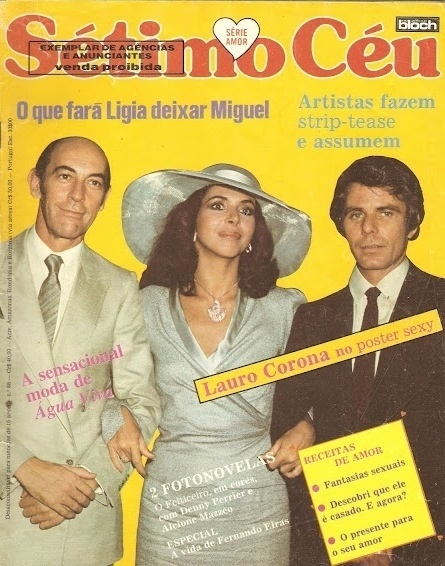 """Capa da revista """"Sétimo Céu"""" sobre o triângulo amoroso central da novela """"Água Viva"""""""