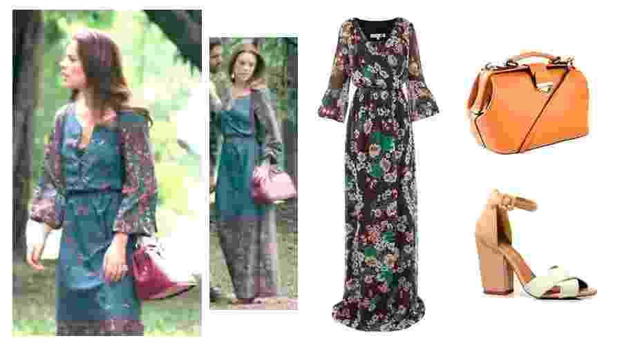 """Paloma (Paolla Oliveira) em """"Amor à Vida"""" tem estilo discreto, mas na moda. A personagem é sempre vista usando vestidos longos estampados e com poucos acessórios, também discretos - Reprodução e Divulgação"""