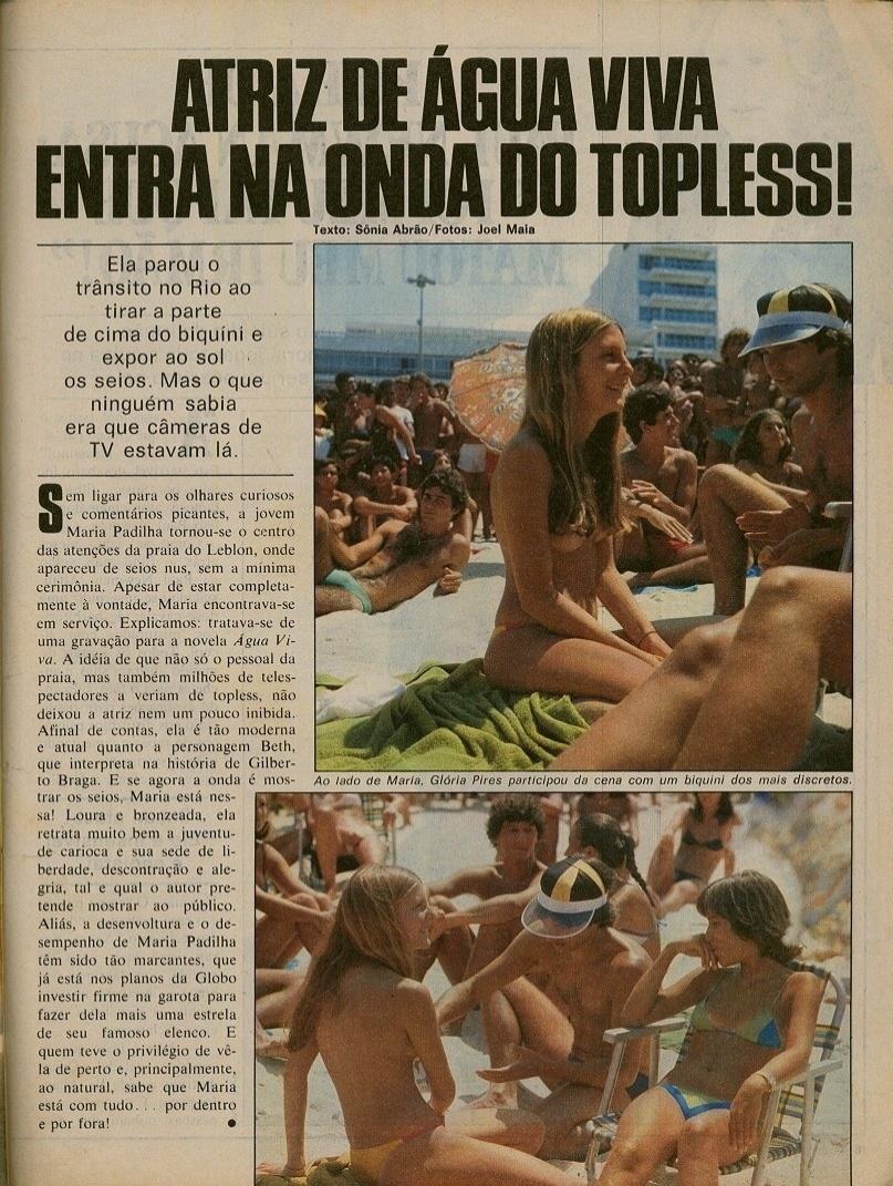 """Reportagem sobre """"Água Viva"""" falando da adesão de Maria Padilha ao topless"""