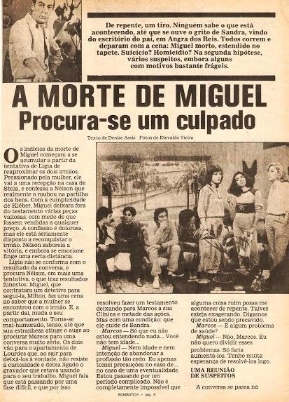"""Reportagem sobre o assassinato de Miguel Fragonard (Raul Cortez) em """"Água Viva"""""""