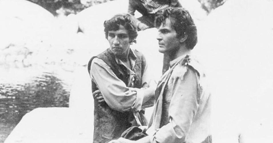 """5.fev.1995 - Cena da novela """"Irmãos Coragem"""" em 1970, com os atores Tarcísio Meira e Cláudio Cavalcanti"""