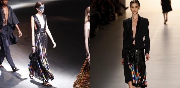 Looks da Givenchy e Tufi Duek para o Verão 2014, apresentados em Paris e São Paulo, respectivamente - AFP/UOL