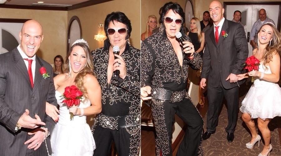 1.out.2013 - A ex-BBB Michelly compartilhou com seus seguidores imagens do casamento realizado em Las Vegas. A fisiculturista celebrou a união com Carlos Tamaiolo