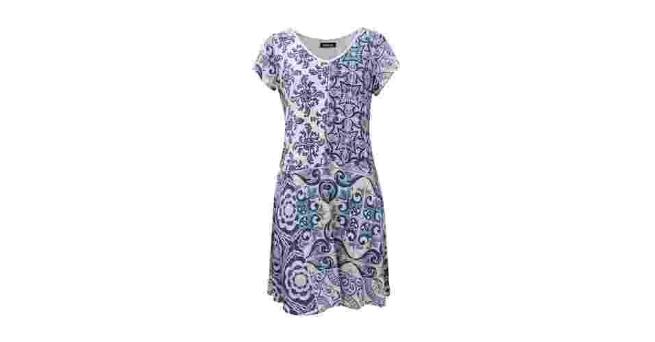 Vestido com recorte em diferentes estampas; R$ 239,36, na Douglas Harris (www.douglasharris.com.br) Preço pesquisado em setembro de 2013 e sujeito a alterações - Divulgação