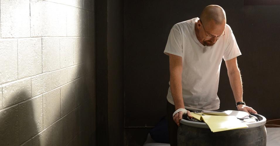 "Bryan Cranston (Walter) em cena da última temporada de ""Breaking Bad"""