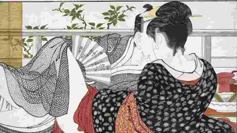 """Imagens da exposição """"Shunga - Sex and Pleasure in Japanese Art """", em Londres, com xilografias mostrando detalhes explícitos de relações sexuais - Reprodução"""