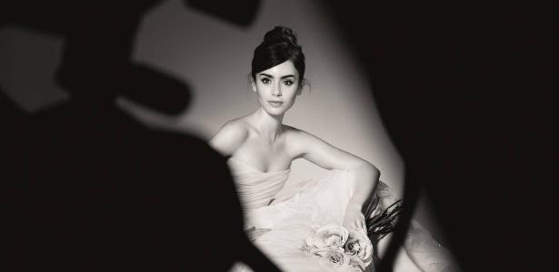 Primeira imagem de divulgação da atriz Lily Collins como embaixadora global da marca Lancôme - Divulgação