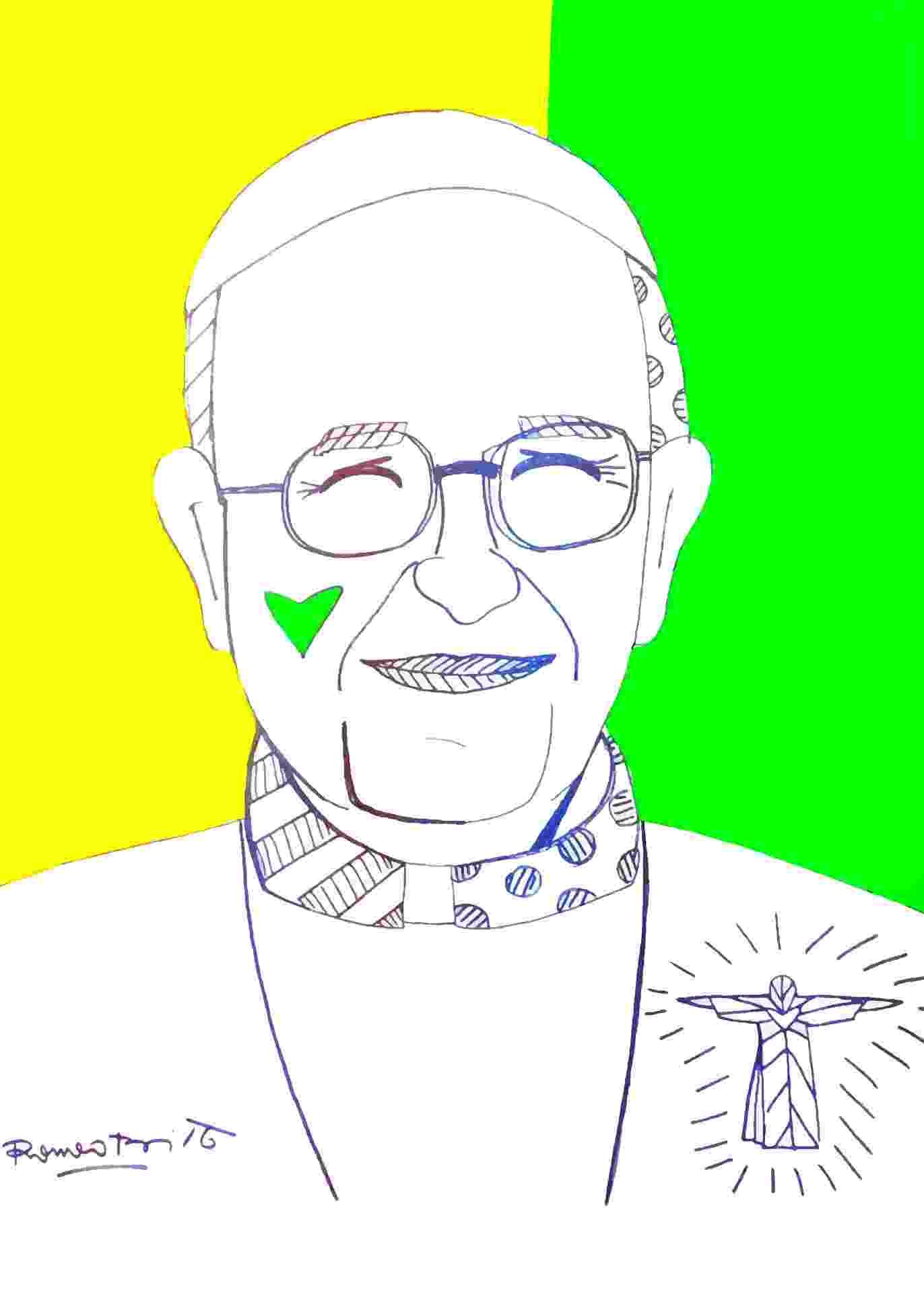 Desenho feito por Romero Britto para homenagear o Papa Francisco durante a passagem do pontífice pelo Brasil - Divulgação
