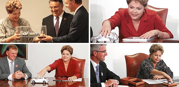 Dilma e suas miniaturas de modelos BMW, Volkswagen, Mercedes-Benz e Audi - Xinhua, Divulgação/PR, Pedro Ladeira/Folhapress