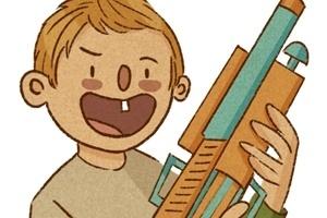 ilustração da coluna mamatraca sobre armas de brinquedo
