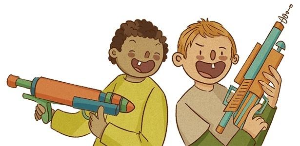 ilustração da coluna mamatraca sobre armas de brinquedos