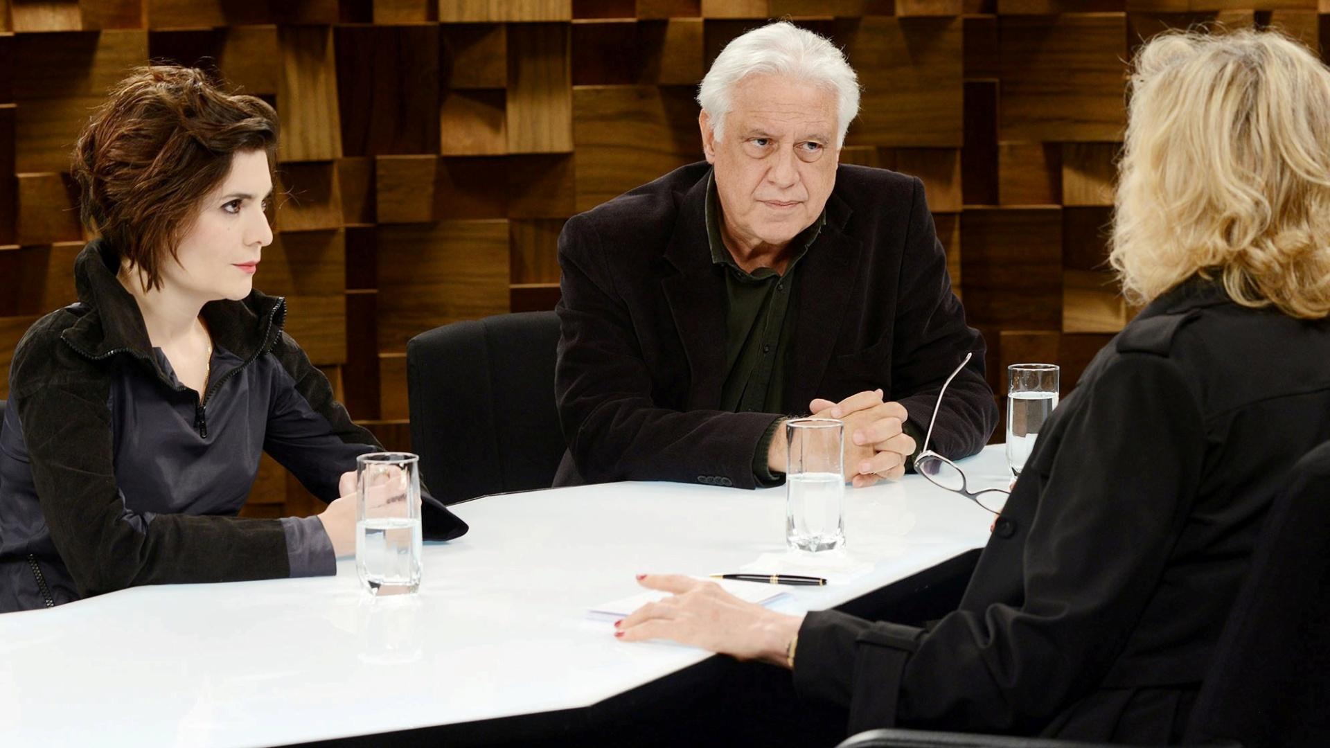 Os atores Antônio Fagundes e Arieta Corrêa nas gravações do programa