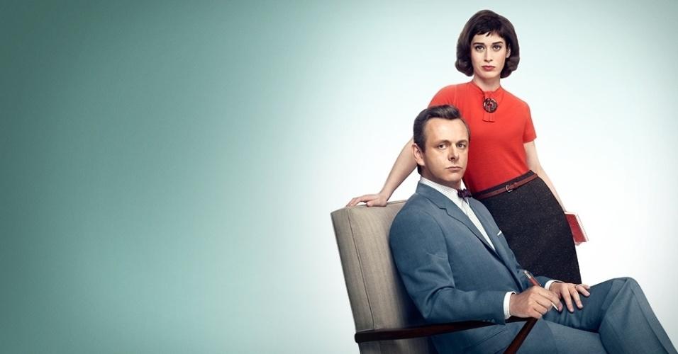 """Michael Sheen e Lizzy Caplan em cena da série """"Masters of Sex"""", produção da HBO"""