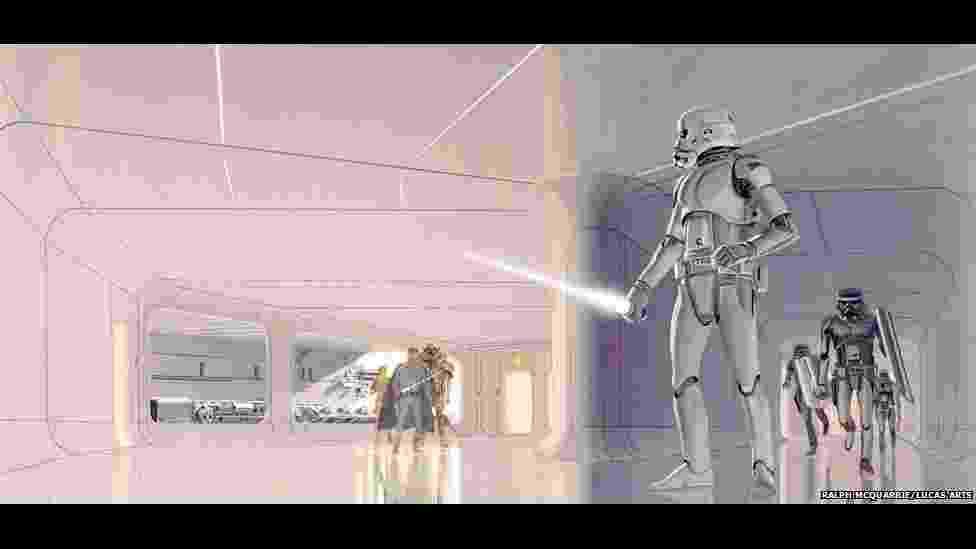 Imagens selecionadas pelo diretor George Lucas para o livro 'Star Wars Art: Concept' mostram os conceitos artísticos que deram forma visual ao universo dos filmes e games da série - Lucas Arts/BBC
