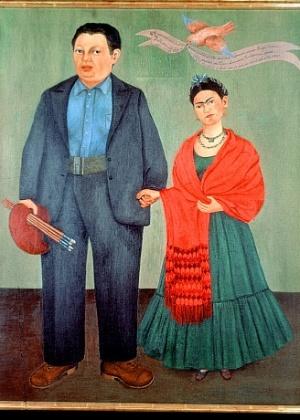 """Quadro """"Frida and Diego Rivera"""", com o casal, feito por Frida Kahlo - Divulgação"""