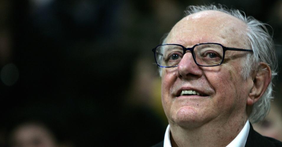 25.mar.2006 - Italiano Dario Fo, Nobel de Literatura de 1997, celebra seu aniversário de 80 anos na Accademia Brera, em Milão