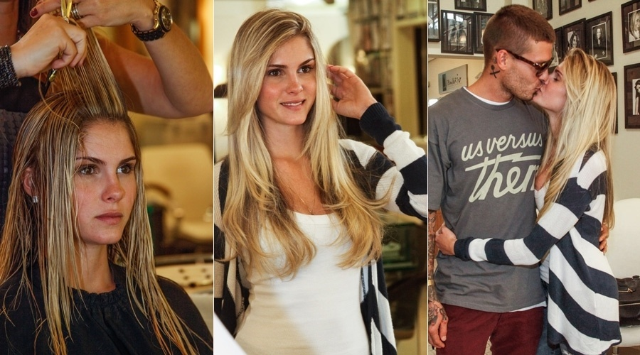 9.out.2013 - Bárbara Evans esteve em um salão de beleza em São Paulo para mudar o visual. A modelo repicou os cabelos e teve a aprovação do namorado, o também modelo Mateus Verdelho
