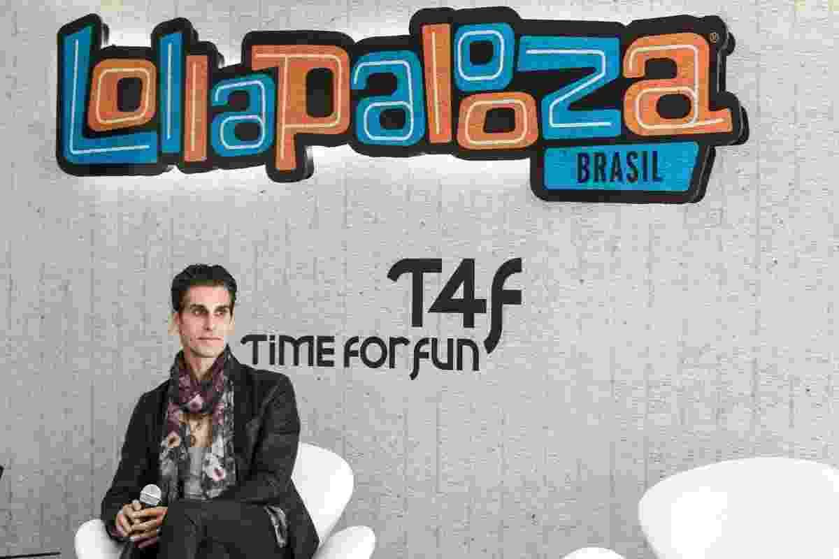 10.out.2013 - Perry Farrell, criador do festival Lollapalooza, durante coletiva de imprensa no autódromo de Interlagos, em São Paulo, que anunciou local e data da edição de 2014 do festival. - Manuela Scarpa/Foto Rio News