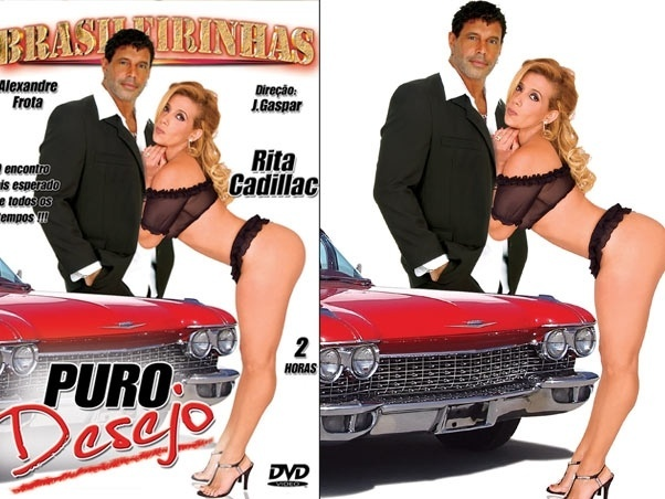 Alexandre Frota e Rita Cadillac na capa do video pornô