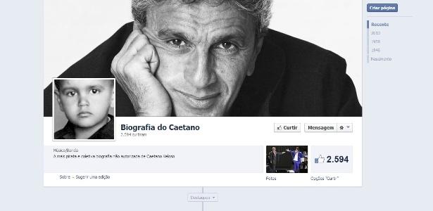"""Página da """"Biografia do Caetano"""" criada no Facebook - Reprodução"""