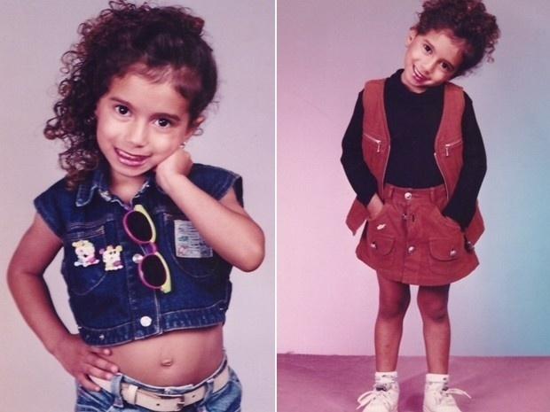 """11.out.2013 - Anitta mostra no """"Encontro Com Fátima Bernardes"""" foto de quando era criança. A funkeira revelou que aprontava muito quando era pequena"""