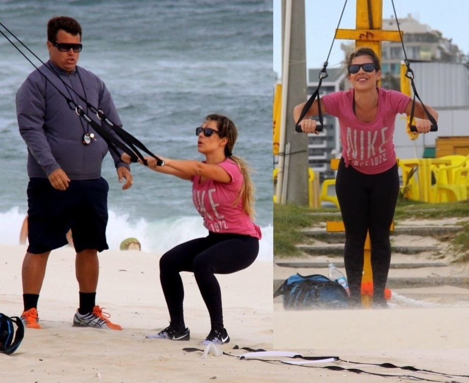11.out.2013 - Para manter a boa forma, Fernanda Souza malha com personal trainer na praia da Barra da Tijuca, Zona Oeste do Rio