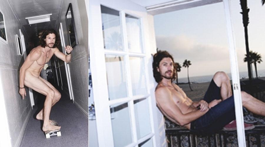 11.out.2013 - Pelado, ex de Sharon Stone anda de skate em ensaio para revista