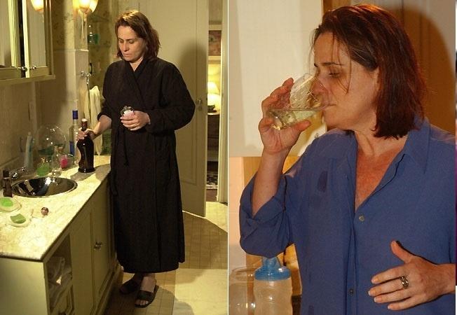 """11.out.2013- Vera Holtz como a professora alcoólatra Santana em """"Mulheres Apaixonadas"""""""