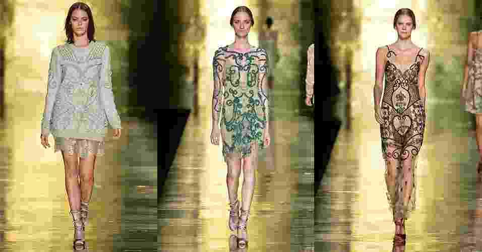 """8.out.2013 - O primeiro desfile apresentado no Minas Trend é da estilista Fabiana Milazzo, que mostrou uma coleção repleta de bordados carregados, fazendo jus ao DNA """"barroco"""" da moda mineira - Agência Fotosite"""