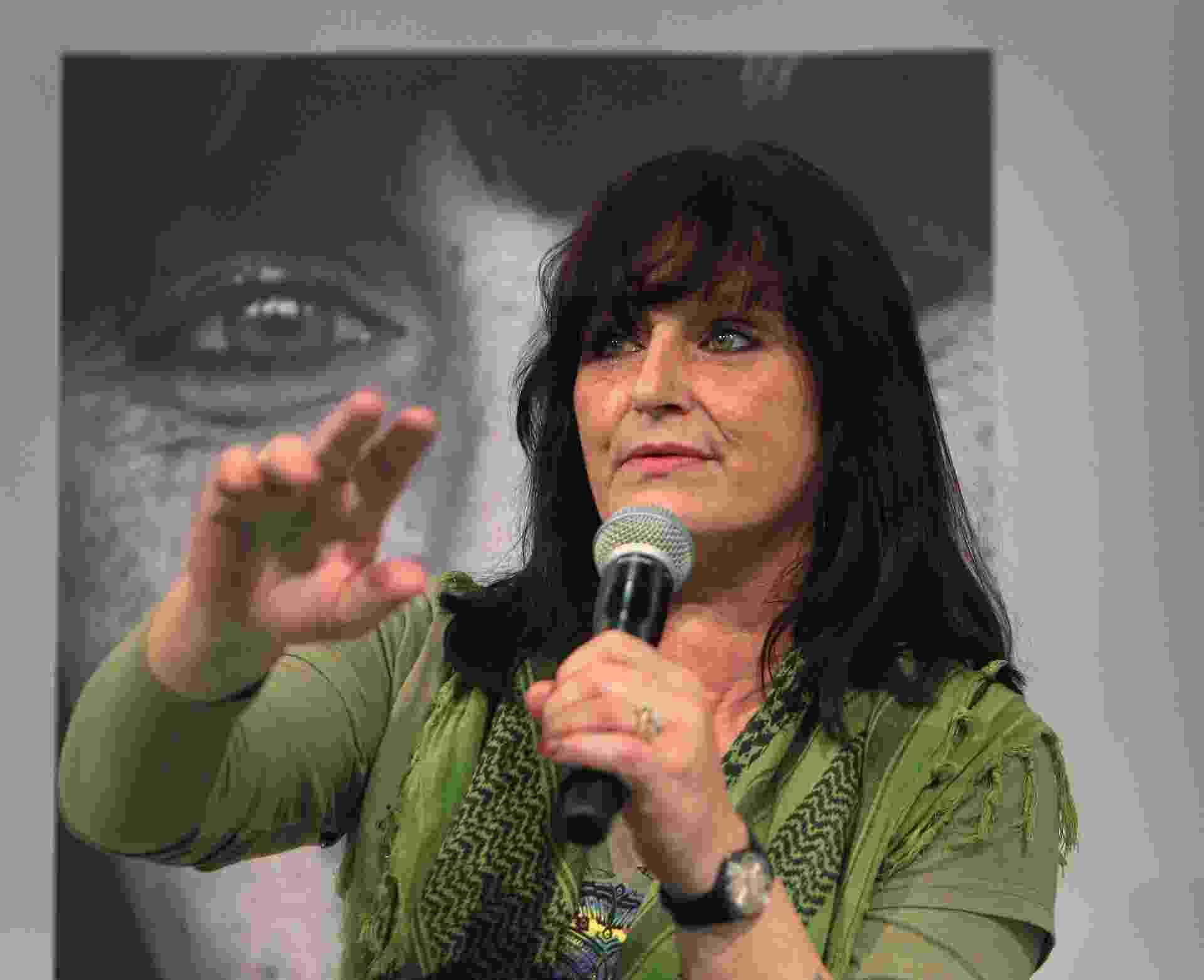 Christiane Felscherinow, conhecida como Christiane F. na Feira de Frankfurt 2013 - Daniel Roland/AFP