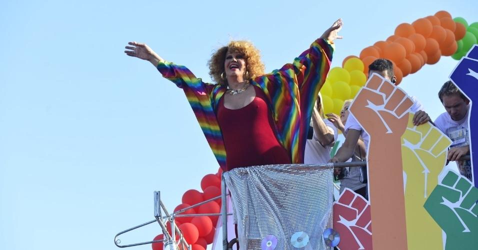 13.out.2013 - Jani Di Castro durante a 18ª edição da Parada do Orgulho LGBT no Rio. A transformista é uma das fundadoras da passeata gay carioca