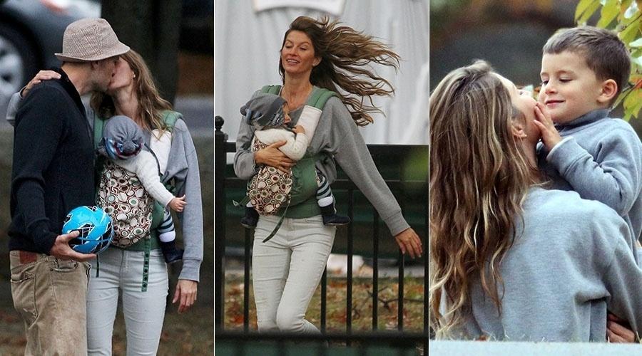 12.out.2013 - Gisele Bündchen troca beijos com o marido durante passeio com os filhos