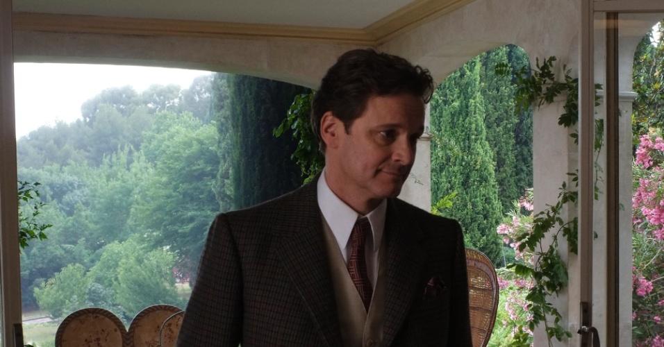 Colin Firth caracterizado para a gravação do filme